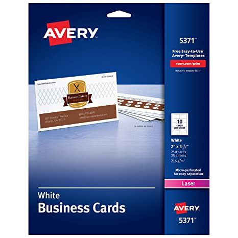 photo about Craft Warehouse Coupons Printable called Avery Printable Business office Playing cards, Laser Printers, 250 Playing cards, 2 x 3.5 (5371)