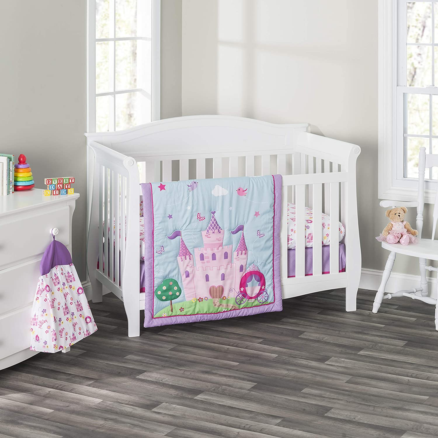 Everyday Kids 3 Piece Girls Crib Bedding Set -Princess Storyland - Includes Quilt, Fitted Sheet and Dust Ruffle - Nursery Bedding Set - Baby Crib Bedding Set