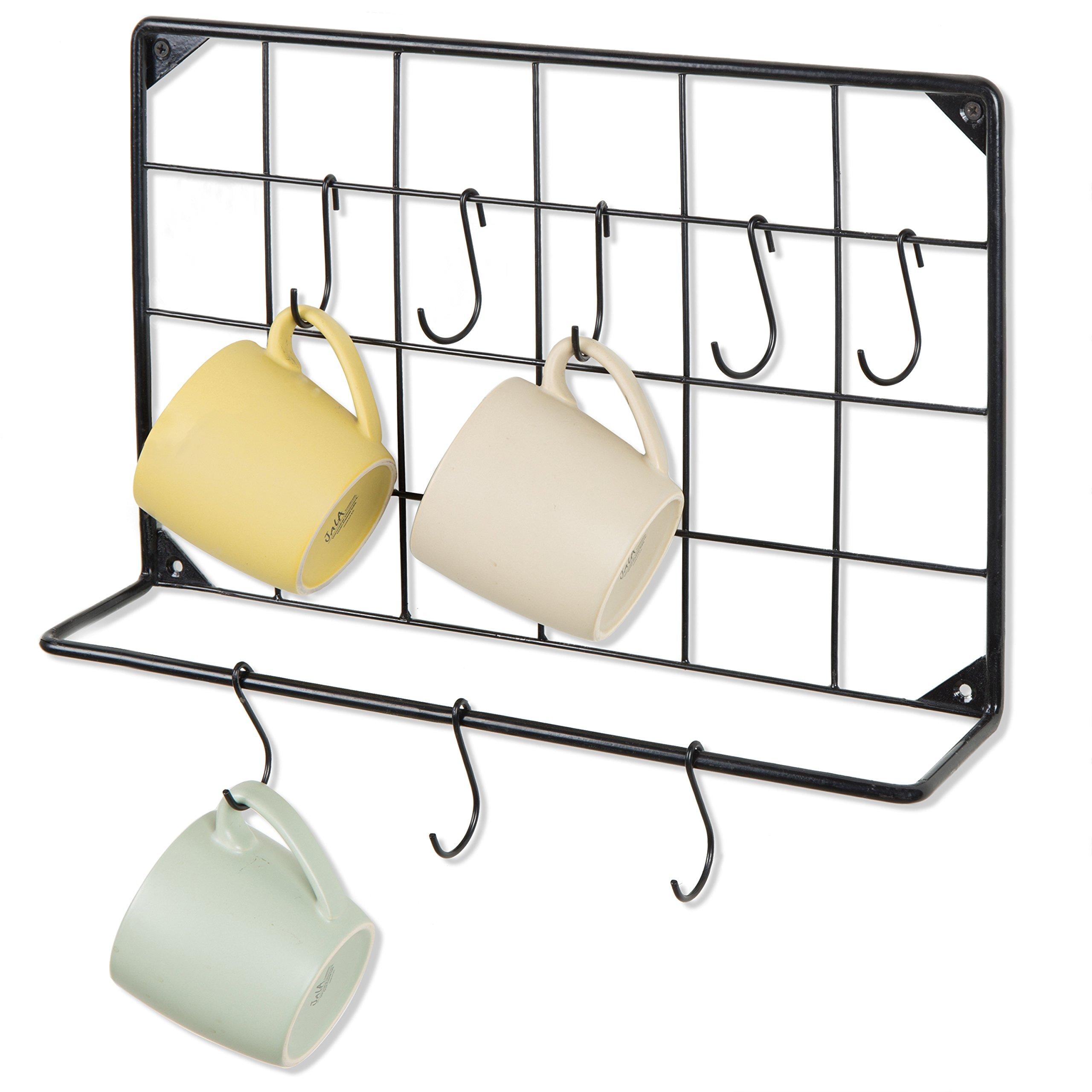 MyGift Wall-Mounted Coffee Mug & Utensil Hanging Rack with 8 S-Hooks