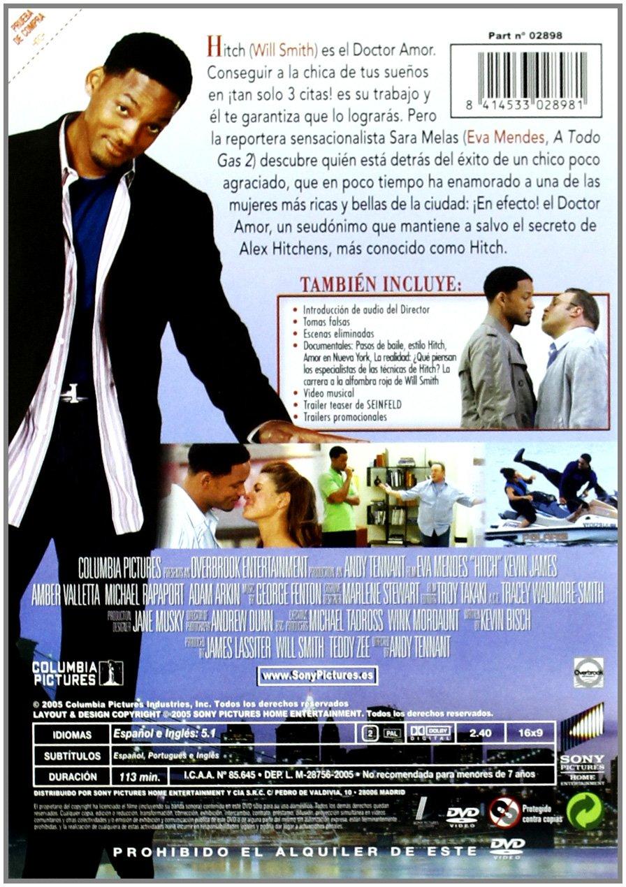 Hitch Especialista En Ligues [DVD]: Amazon.es: Will Smith, Michael Rapaport, Adam Arkin, Amber Valletta, Eva Mendes, Kevin James, Varios, Andy Tennant: Cine ...