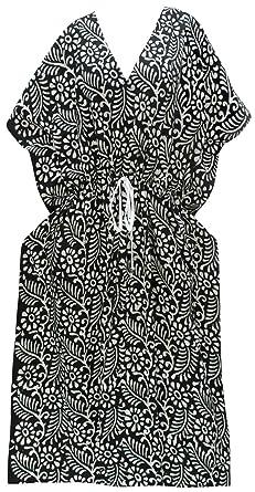 fe4cbde600 LA LEELA Women's Cotton Plus Cover up Lounge Sleep Night wear Caftan Long  Dress Kaftan Black