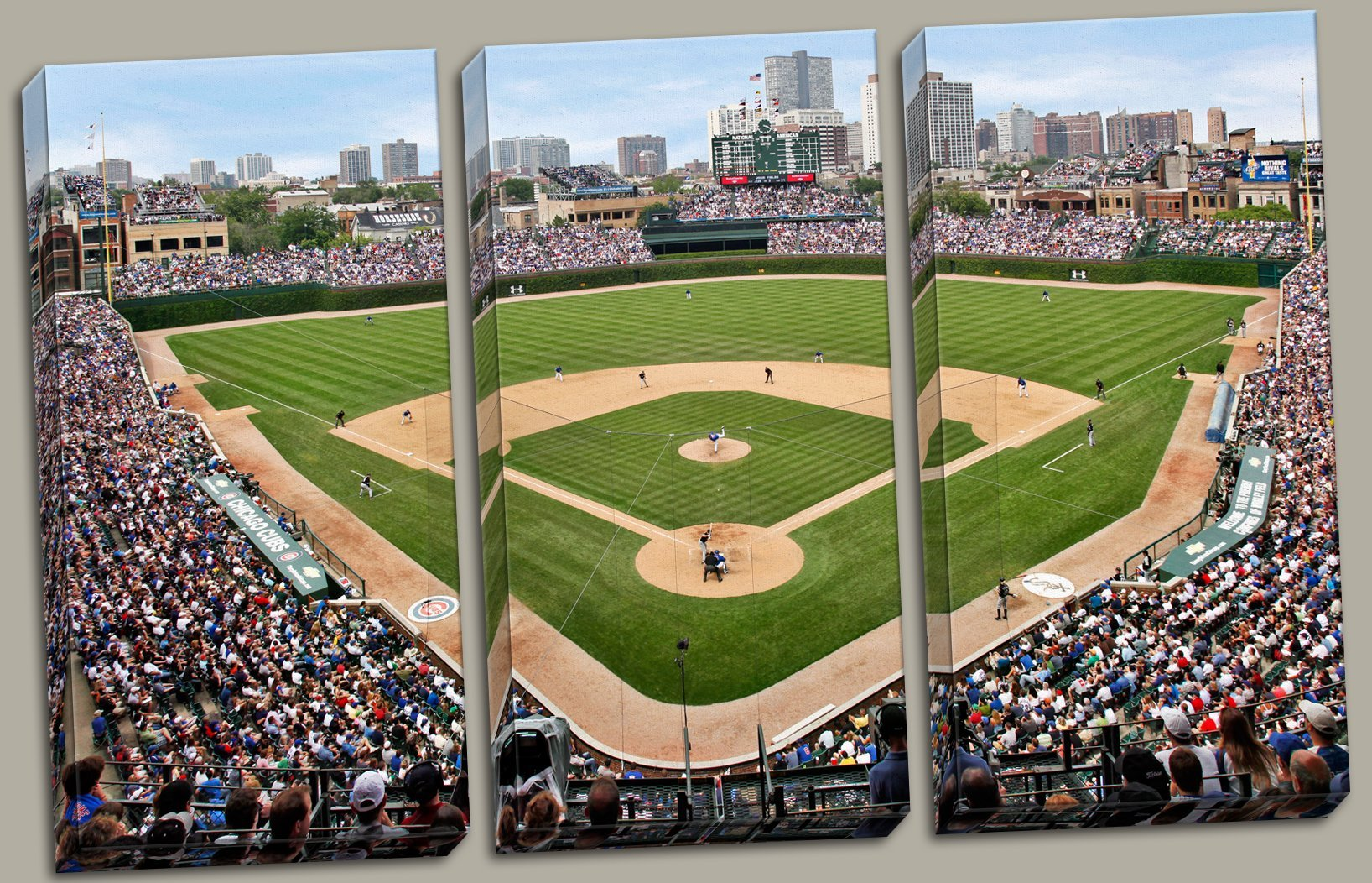 At the Ballpark | Popular Wrigley Field Stadium Triptych Panels; Three 12x24in Hand-Stretched Canvases