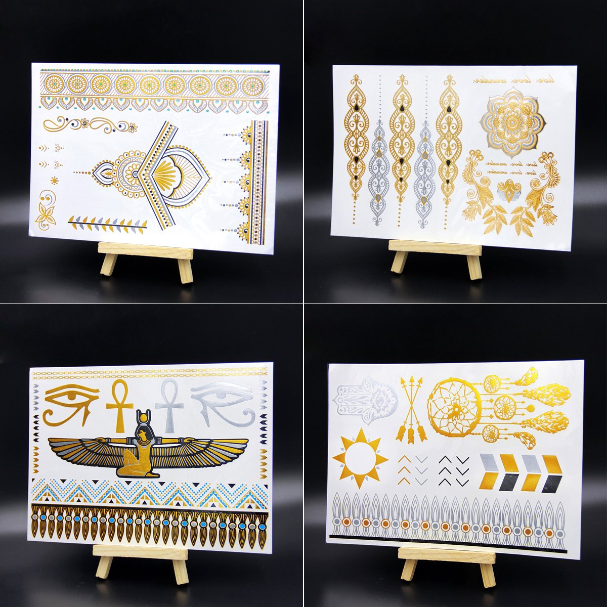 Leoars 4 Sheets Metallic Gold Flash Temporary Tattoos Paper Festival Flash Tattoos Henna Tattoo Stickers for Women Girl FLASH-4