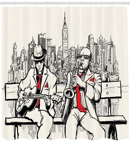 ABAKUHAUS Música Cortina de Baño, Banda Masculina de Jazz Tocando York por la Noche Ilustración