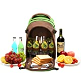 YONOVO 4 Person Picnic Backpack with Full Zip Pocket, Cooler Compartment, Breathable Suspension System and Cutlery Set, Perfect for Picnic/BBQ/Traveling/Camping(Green-4person)