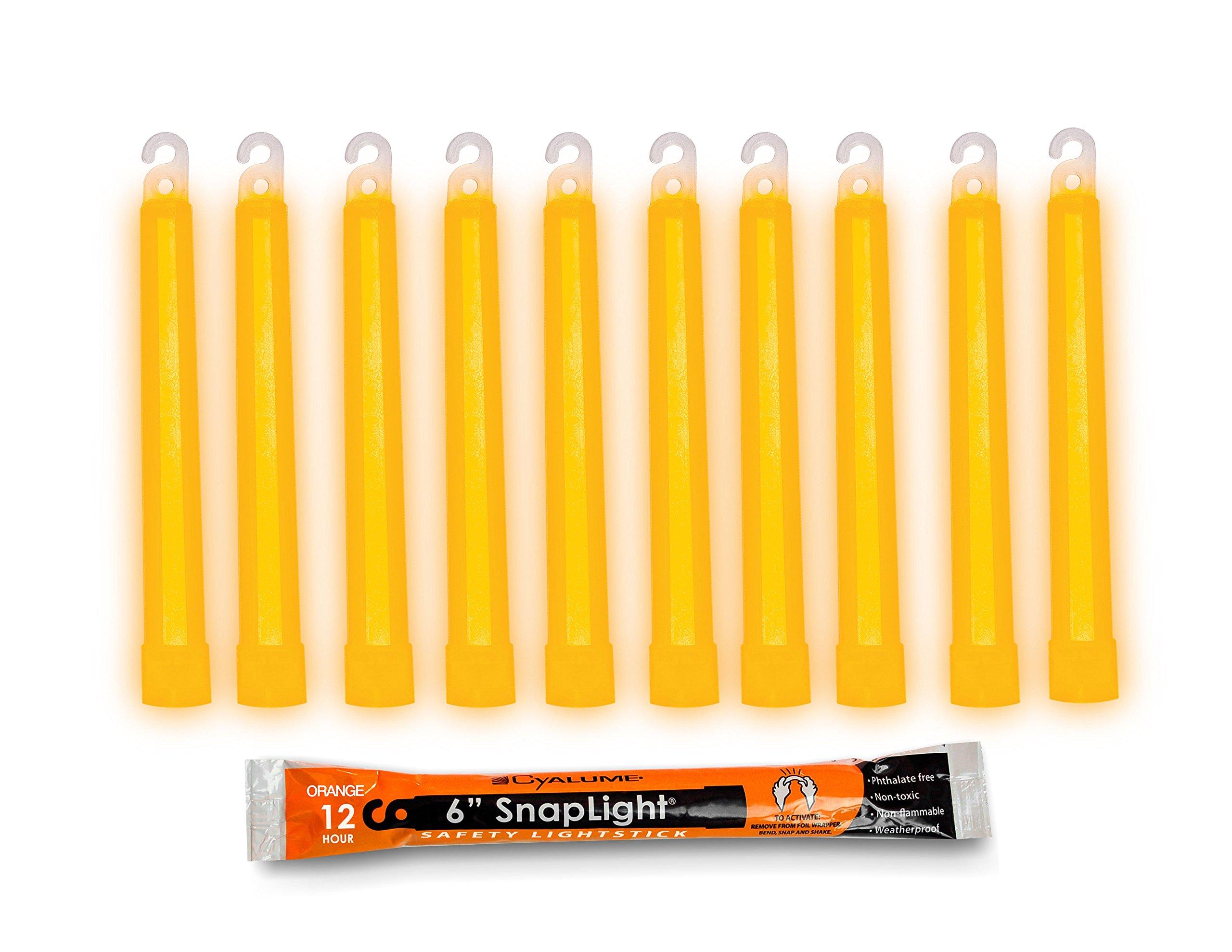 Cyalume SnapLight Orange Glow Sticks – 6 Inch Industrial Grade, Ultra Bright Light Sticks with 12 Hour Duration (Pack of 10)