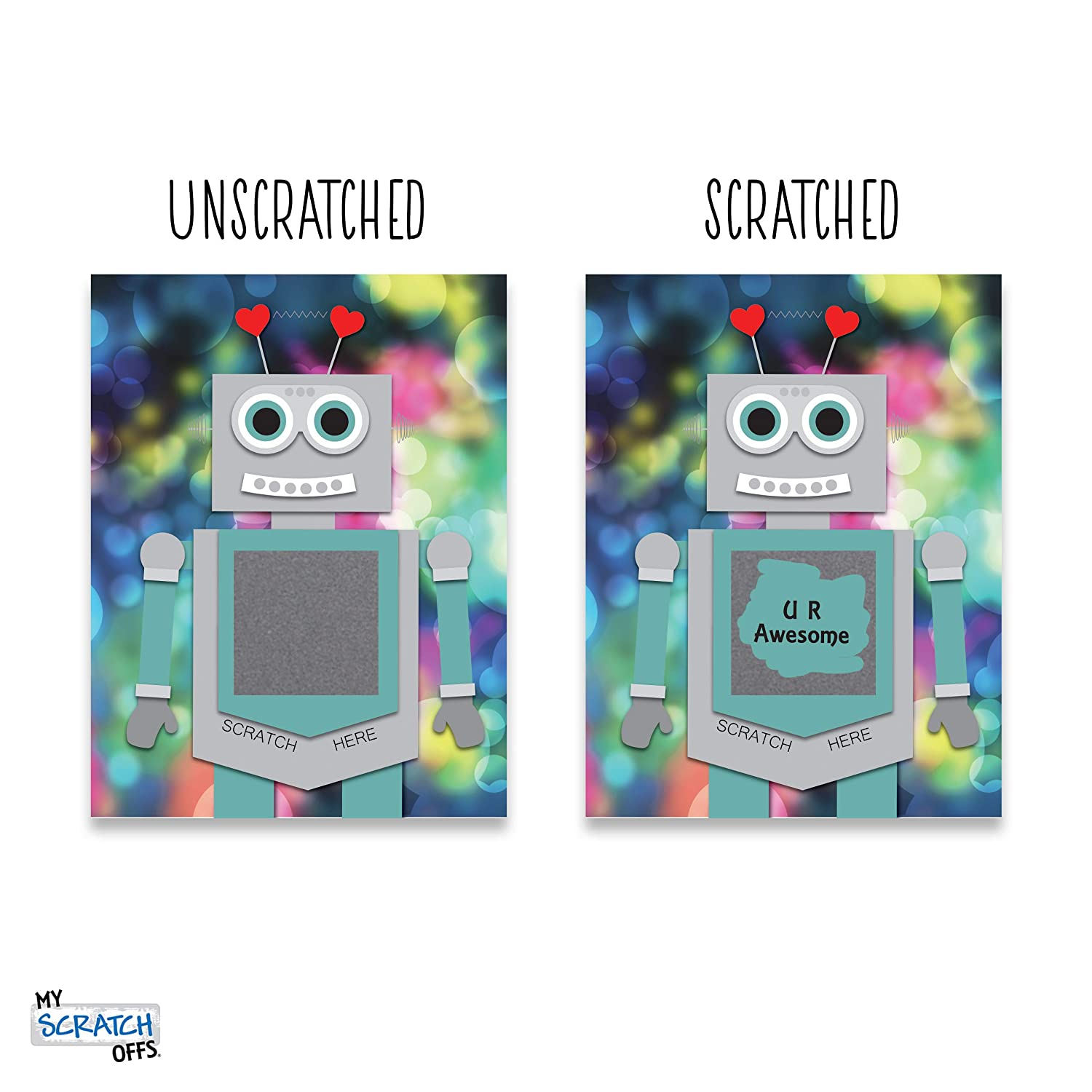 My Scratch Offs Valentines Day Kit of 25 Cards Robbie the Robot