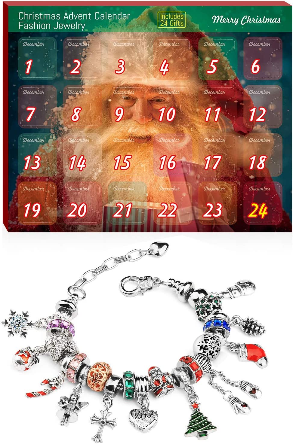 Advent Calendar, Christmas Advent Calendar, Jewelry with 1 Adjustable Bracelet and 23 Charm Beads Countdown to Christmas Calendar for Kids Girls Women DIY.