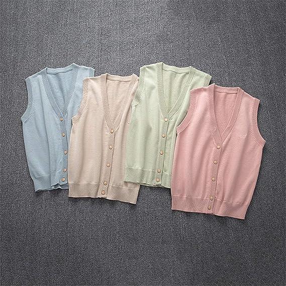 Heflashor Gilets en Tricot/é Femme sans Manches D/ébardeur Chandail en Maille Col Montant Pull Classique Sweater Tank Top Blouse Printemps