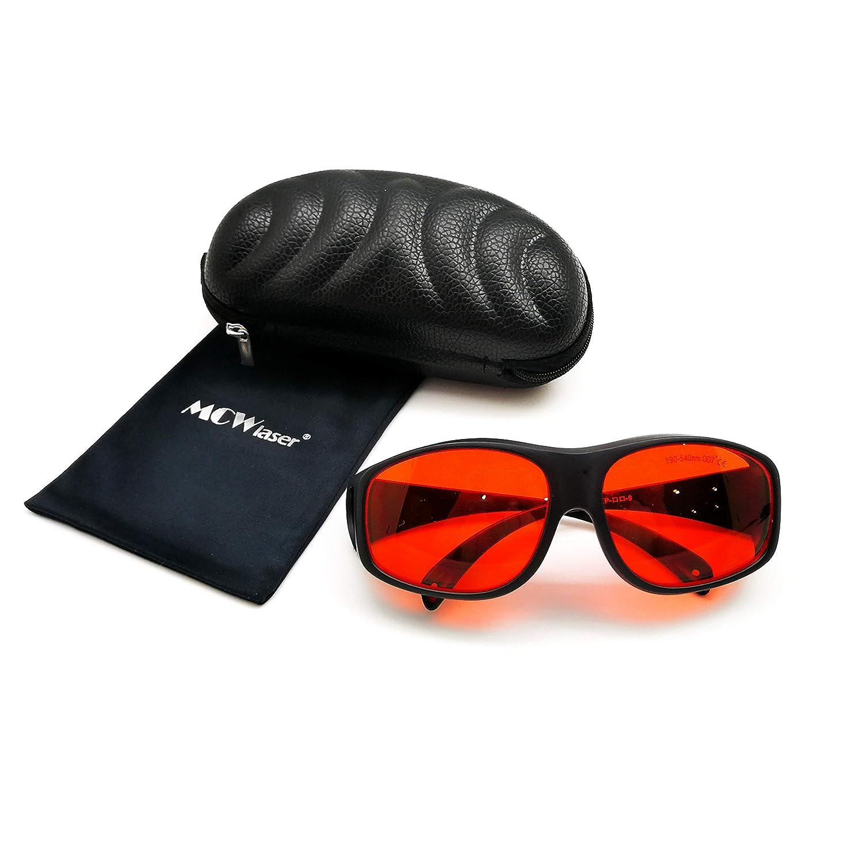 MCWlaser Gafas protectoras de seguridad láser Gafas 190-540nm Típico para 355nm 405nm 445nm 447nm 450nm 460nm 473nm 515nm 520nm 532nm Tipo de absorción EP-3 Estilo 9