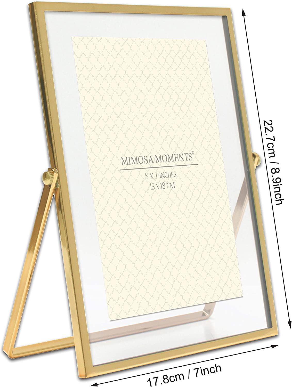 MIMOSA MOMENTS Gold Metal Floating Picture Frame Gold, 2x3