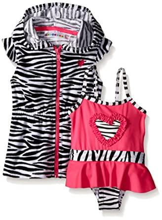 b032065810 Wippette Baby Girls' Zebra Swim and Cover Up Set, Pink Glow, 12 Months