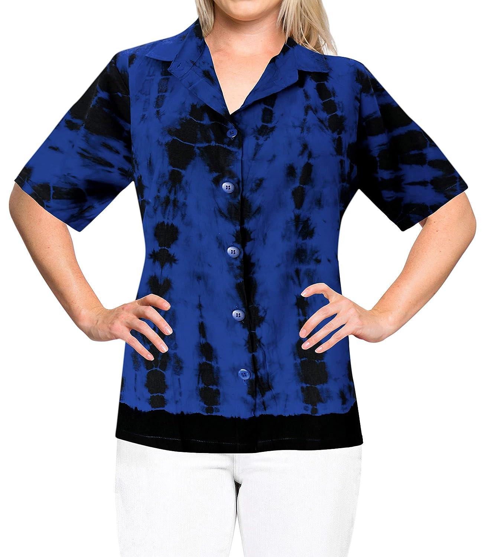 Mujer teñido Anudado de la Cubierta hasta la Camisa Hawaiana