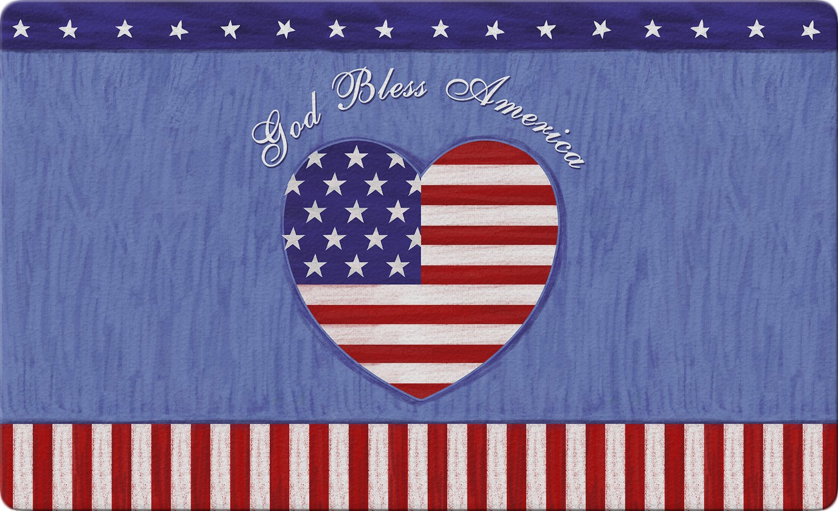 Toland Home Garden God Bless The U.S. 18 x 30 Inch Decorative Patriotic Heart Floor Mat America Doormat