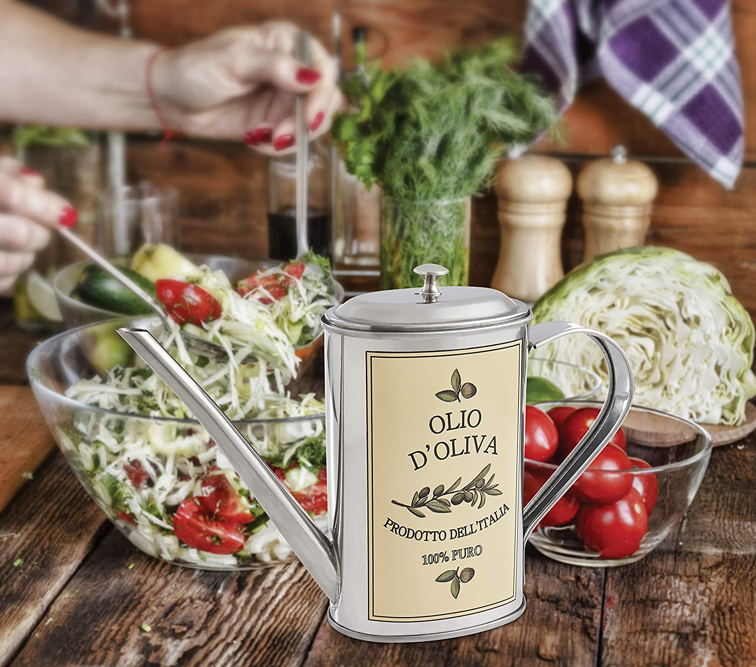 The Italian Market Original Since 1906 18//8 Stainless Steel 500-Milliliter Capacity Fantes Olive Oil Can