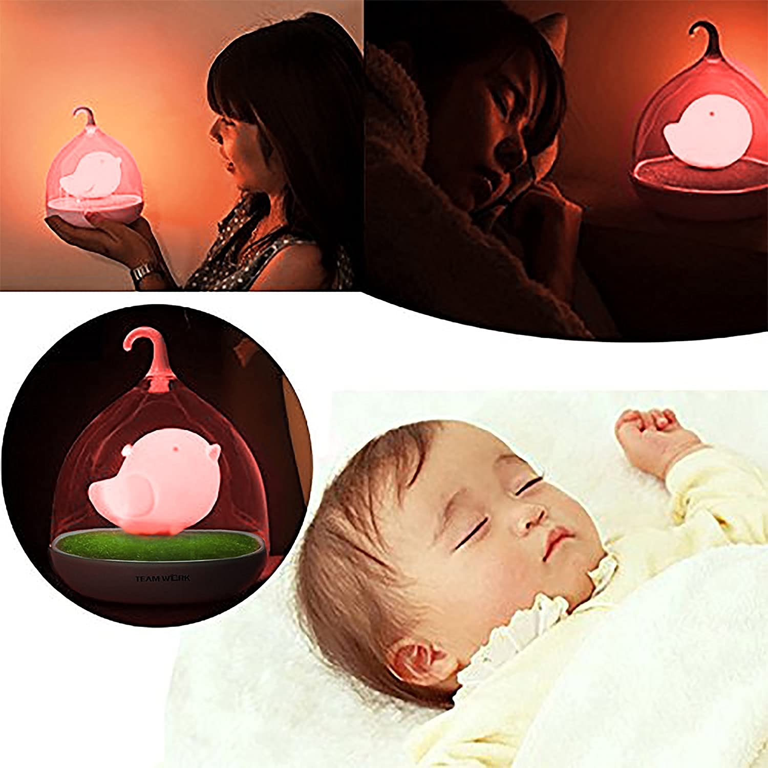 GREAT BABY SHOWER GIFT Soft Light Comforting to Help Your Baby Fall Asleep Faster by Decor Hut DH001-14 LED Pink Bird bight Light Childrens Toddler and Baby Bird Night Lights with Usb Charger Included