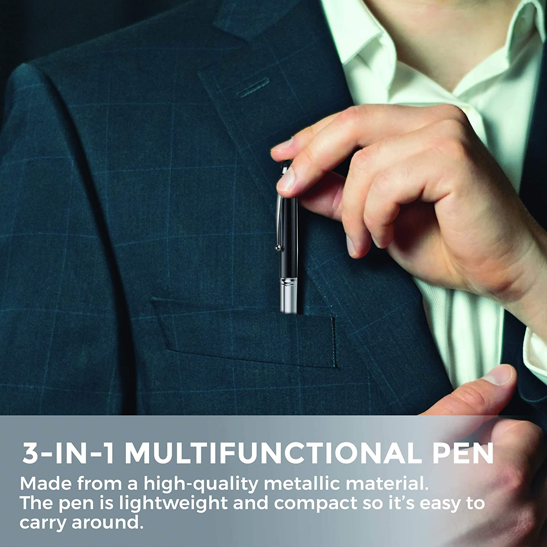 LED Torch Light Ballpoint Pen Royal Blue Capacitive Aluminium Pen Stylus KING OF FLASH 3-in-1 Stylus Pen With Light