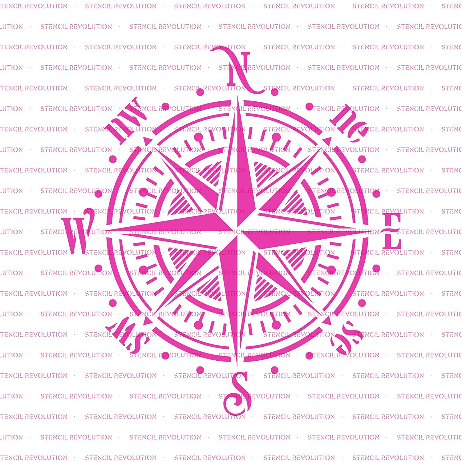 Reusable Stencil with Multiple Sizes Available Compass Rose Stencil Template