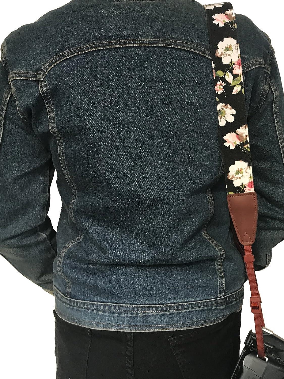 Camera Neck Shoulder Belt Strap,Alled Leather Vintage Print Soft Camera Straps for Women//Men for DSLR//SLR//Nikon//Canon//Sony//Olympus//Samsung//Pentax//Fujifilm Leather/Pink/Print
