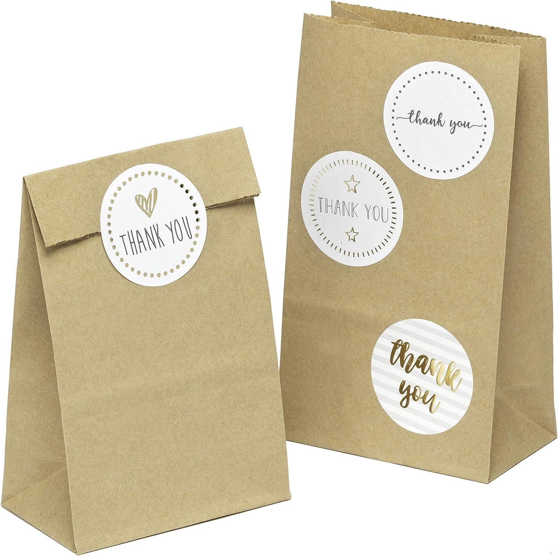 kgpack 100x Bolsas de papel kraft DIY Con pegatinas THANK YOU 9 x 16 x 5 cm | Bolsas de papel Kraft para niños | calendario de adviento | Bolsa de regalo de fondo plano | Bolsa de papel de alimentos