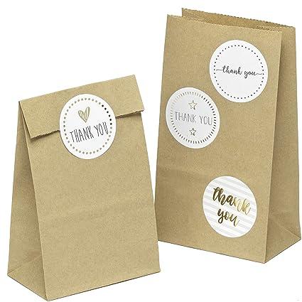 100 piezas Bolsas de Papel Regalo con pegatinas THANK YOU 9 x 16 x 5 cm Bolsa Biodegradable Regalos Comunión para Invitados o para Guardar Comida, ...