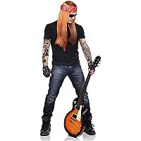 Balinco Herren 90er Jahre Rocker Komplettset mit Perücke + Stirnband + Sonnenbrille + Armbänder + Tattoo Sleeves + Handschuhe