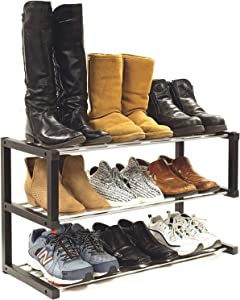 """Allspace 3-Tier Stackable Shoe Rack, Durable and Sturdy Stainless Steel, 12-15 Pairs Shoe Organizer, Boot and Sneaker Storage Shelf, Perfect for Bedroom, Closet, Entryway, 12""""D x 30""""W x 17""""H - 240078"""