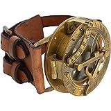 "Gusti Leder studio ""Dennis"" Armband Leder mit Steampunk Uhr Kompass Sonnenuhr Armreif Lederarmband Lederschmuck Leder Büffelleder Modeschmuck 2A22-24-10"
