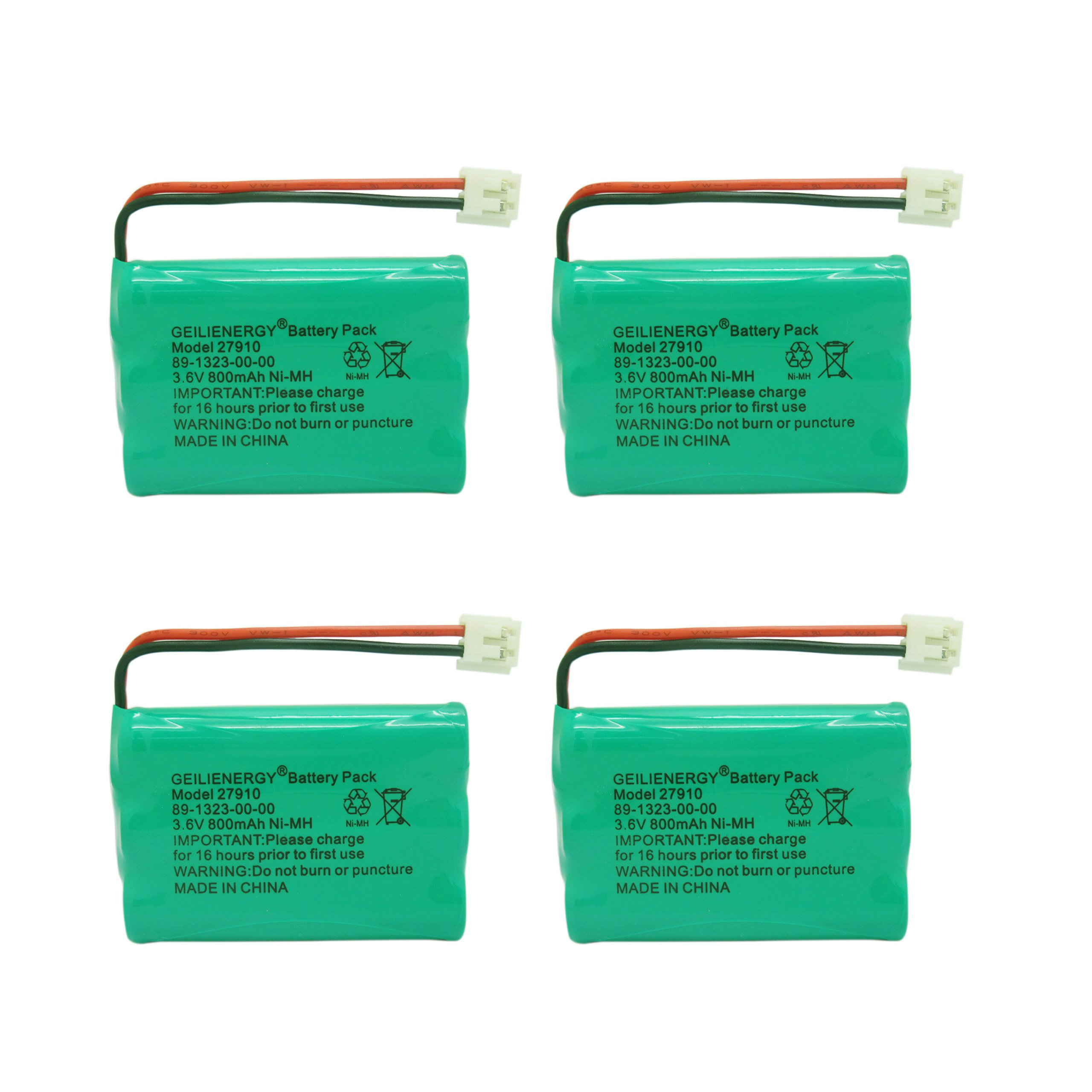 GEILIENERGY 27910 89-1323-00-00 Battery Compatible with Vtech I6725 mi6803 Motorola SD-7501 at&T E1112 E2801 TL72108 RadioShack 23-959 Cordless Phone (Pack of 4)