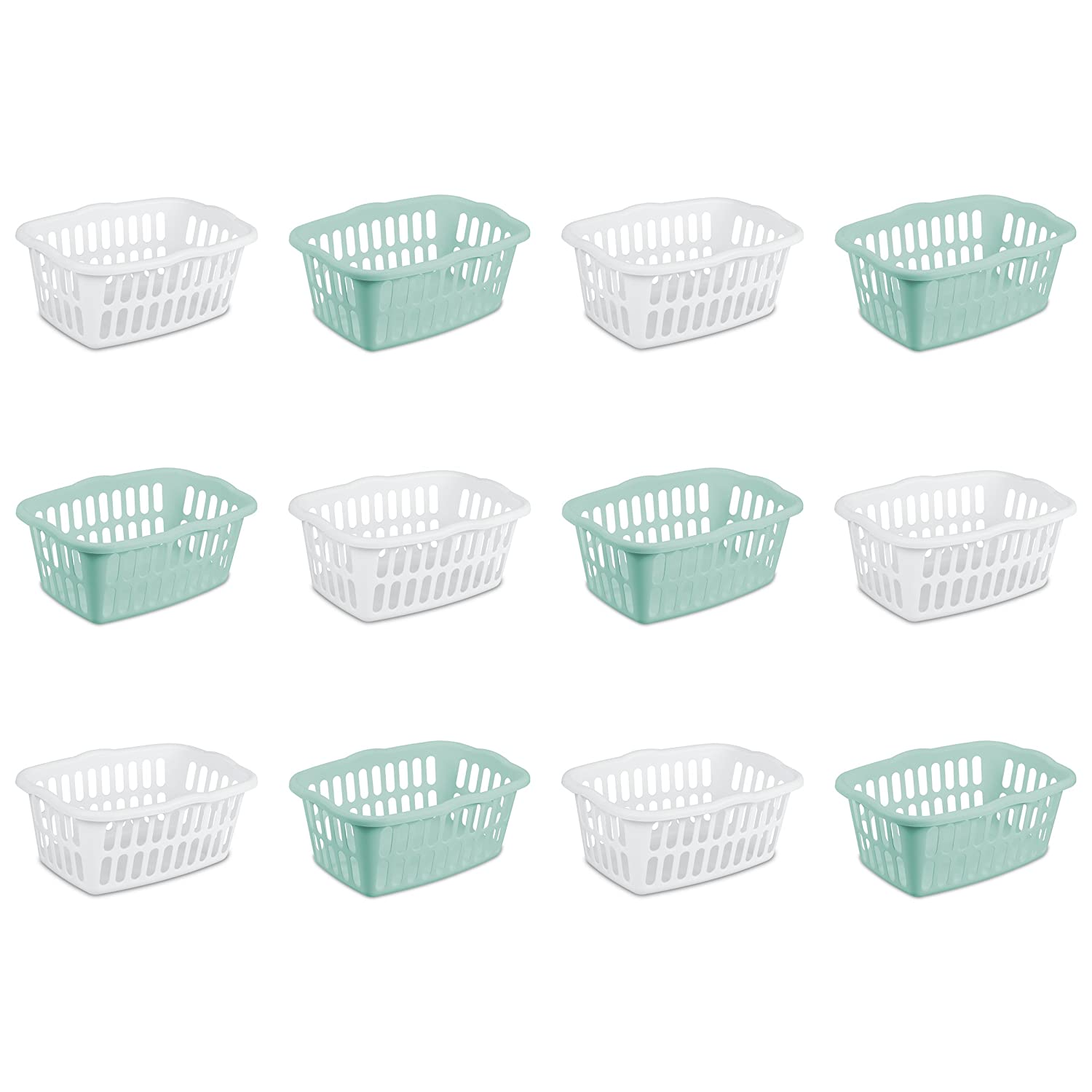 Sterilite 12459412 1.5 Bushel/53 Liter Rectangular Laundry Basket, White & Aqua Chrome, Assorted, 12-Pack