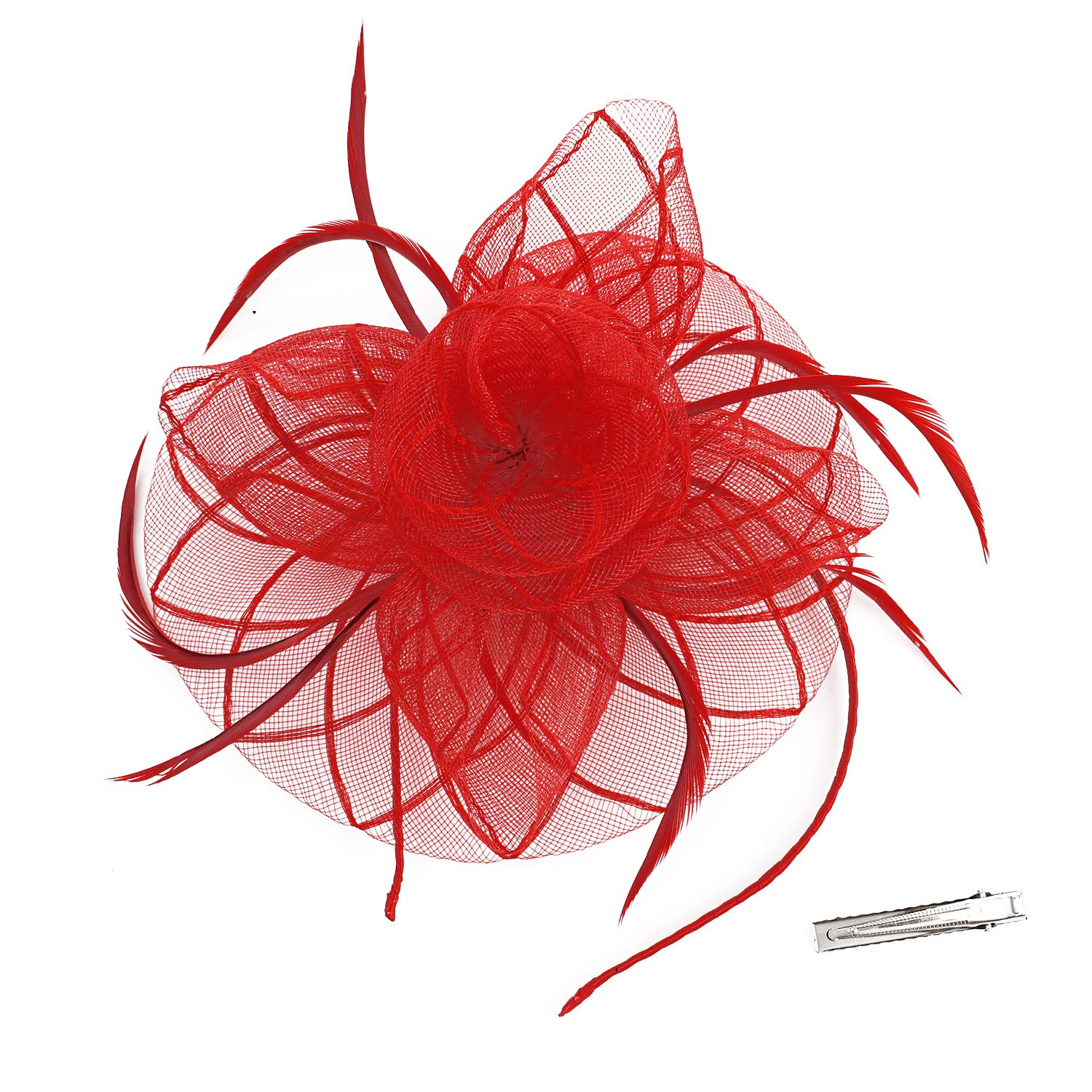 Fascinators for Women Tea Party Hat Kentucky Derby Hat and Flower Mesh Hair Clip and Headband RongHui Crafts
