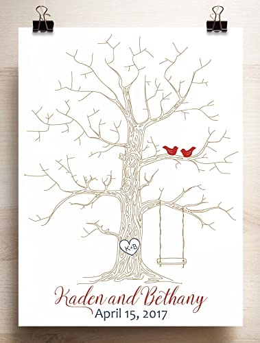 Amazon.com: Wedding Guest book alternative thumbprint tree with ...