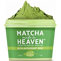 LILY SADO Green Tea Face Mask - Organic Natural VEGAN Facial Mask - Anti-Aging, Antioxidant Defense Against Acne, Blackheads & Wrinkles for a Luscious, Soft Glowing Complexion - Best Mud Mask for Acne