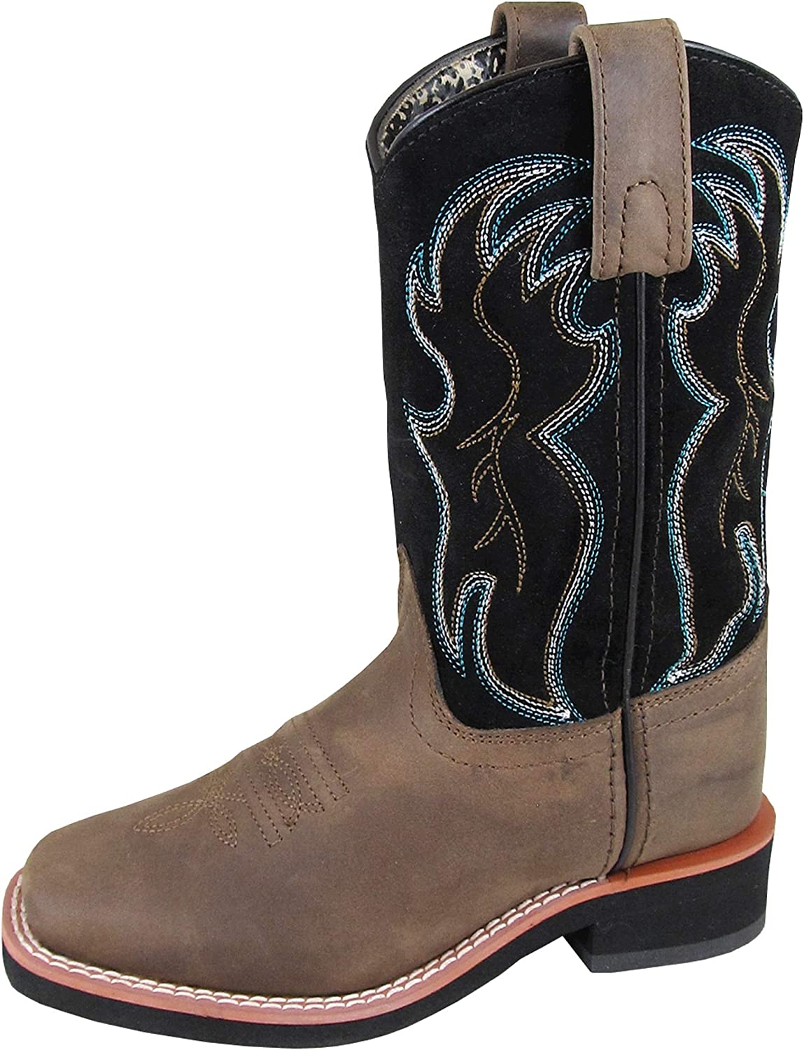 Smoky Mountain Youth Unisex Alex Brown//Black Leather Cowboy Boots 4.5 D