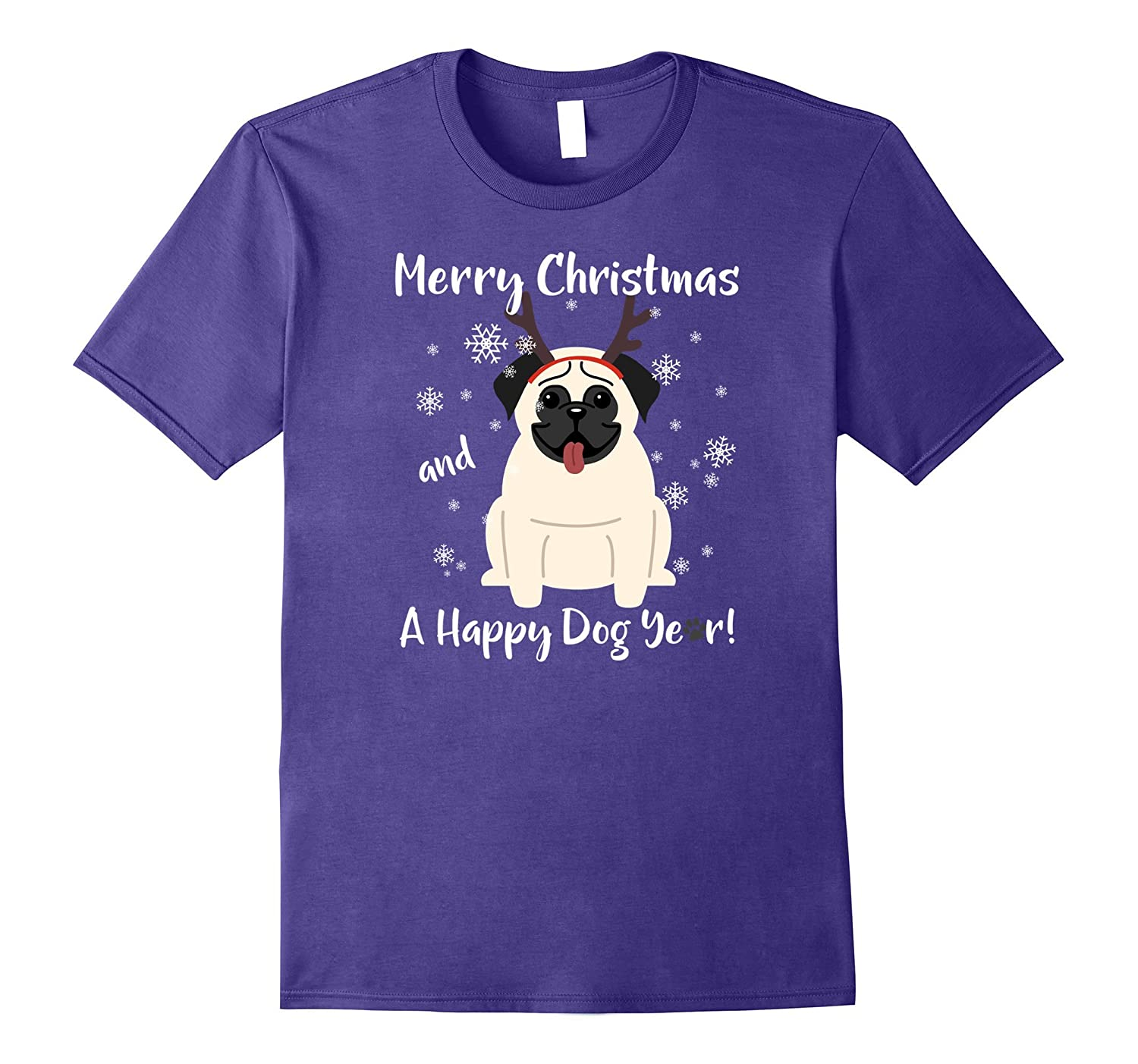Merry Christmas Happy New Year Dog Best T - Pug-ANZ
