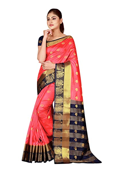 f0eecc7d08f Wedding Villa Women's art banarasi silk saree with blouse piece ...