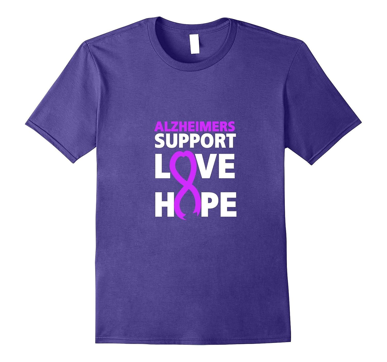 Alzheimers Awareness tshirt Purple Ribbon Support Love Shirt-CL