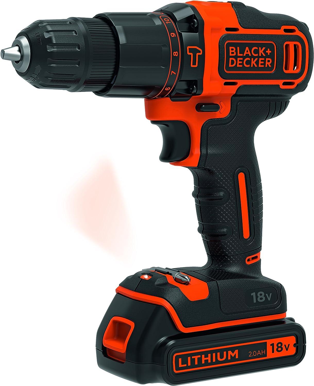 1 chargeur et coffret de rangement 18V BLACK+DECKER BDCHD18K1B2-QW Perceuse /à percussion sans fil 2 Batteries Coffret