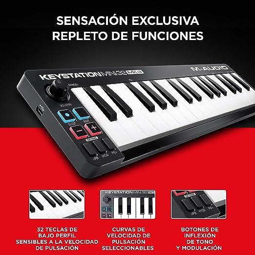 M-Audio Keystation Mini 32 MK3 - Mini Teclado Controlador MIDI / USB de 32 teclas Ultra portátil con ProTools First, M-Audio Edition y Xpand!2 de AIR ...
