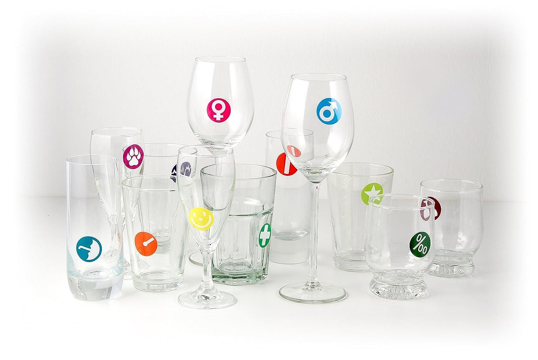 Fackelmann 59106 Lot de 12 Marqueurs de verre Silicone//Silicone Multicolore 30 mm