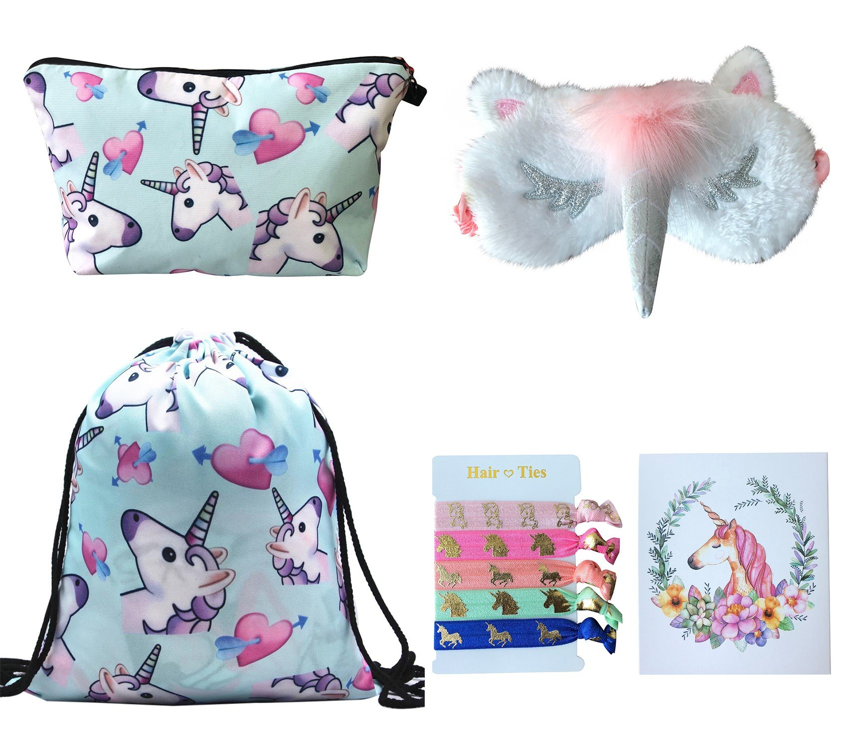 Unicorn Gifts for Girls 5 Pack - Unicorn Drawstring Backpack/Makeup Bag/Eye Mask/Hair Ties/Card (5 Set Blue)