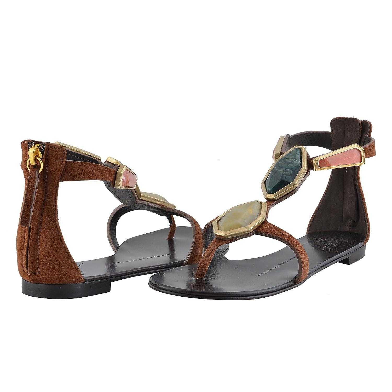 36bb997f9a8 Amazon.com  Giuseppe Zanotti Design Women s Suede Leather Flat Sandals US 5  IT 35  Clothing