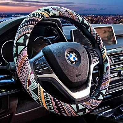 Valleycomfy Maya Universal 15 inch Steering Wheel Covers with Cloth for Women: Automotive