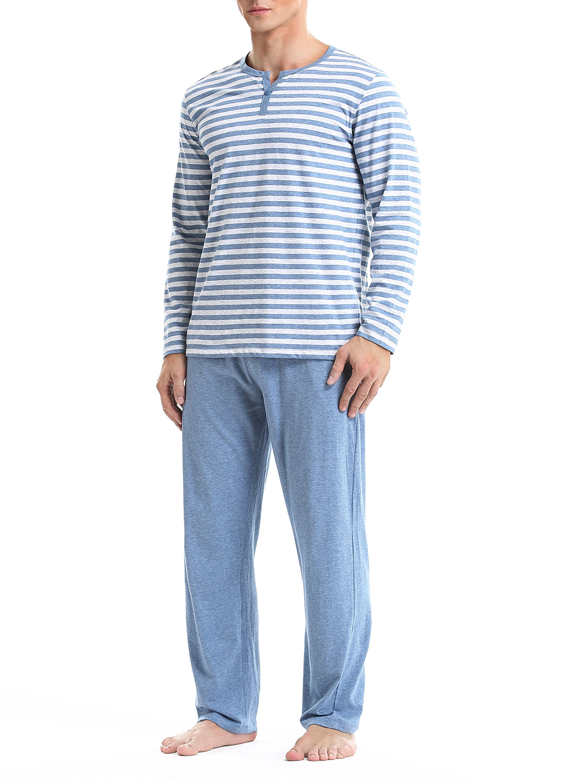 David Archy Men's Cotton Heather Striped Sleepwear Long Sleeve Top & Bottom Pajama Set (Heather Navy Blue, L)