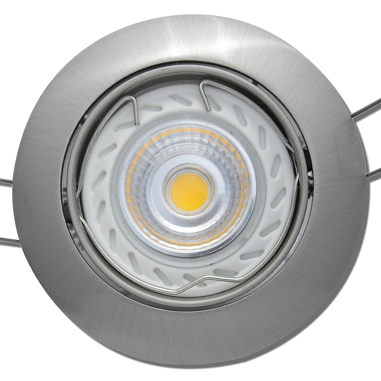 7 Stück MCOB Modul Einbaustrahler Fabian 230 Volt 5 Watt Schwenkbar Edelstahl geb.   Neutralweiß