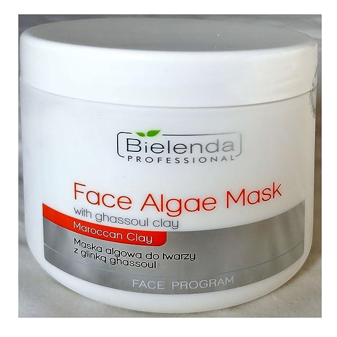 Bielenda algas máscara facial profesional con Ghassoul arcilla - Maska algowa do twarzy Z Glinka Ghassoul 190 g Set con stapiz pelo champú 15 ml o máscara ...