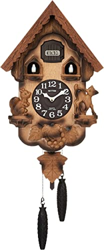 Rhythm rhythm clock Earnest Bellows Type Cuckoo Clock Cuckoo Bread Key R Wood Frame Dark Brown Blur Wooden Base Finish 4MJ221RH06