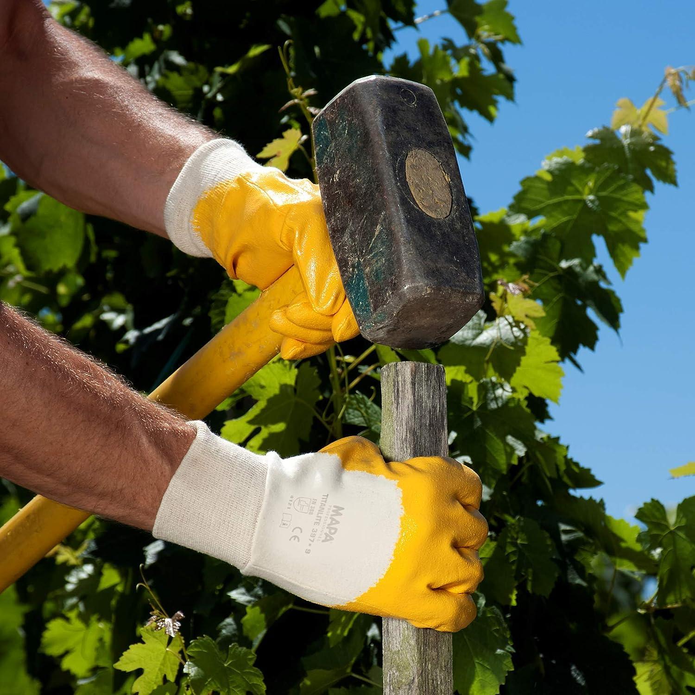 ideal f/ür grobe Arbeiten im Haus- und Gartenbau Spontex Construction Arbeitshandschuhe 1 Paar Gr/ö/ße S mit Nitrilbeschichtung und Textilstrick