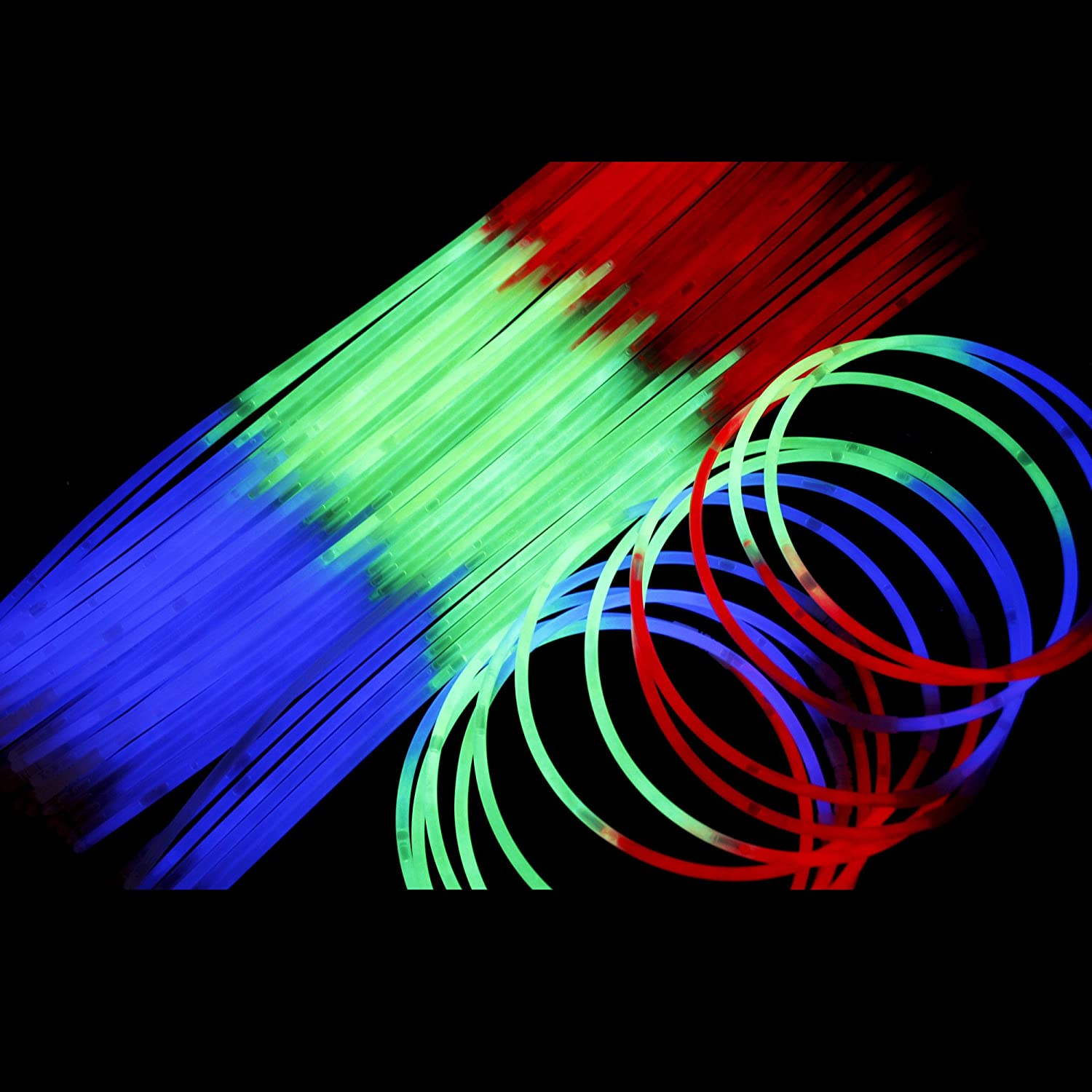 Fun Central J5 22 Inch Glow Necklaces Light Up Necklaces Glow Necklace Bulk Glow Sticks Necklace Cool Glow Sticks Red Green Blue 50ct