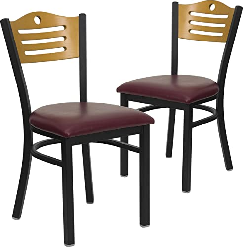 Flash Furniture 2 Pk. HERCULES Series Black Slat Back Metal Restaurant Chair – Natural Wood Back, Burgundy Vinyl Seat